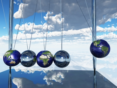 Newtons Cradle Earth Stock Photo
