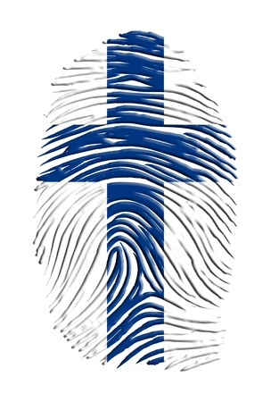 fingerprinted: Finnish Flag superimposed upon fingewr print
