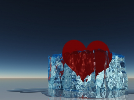 heart heat: Heart in ice melting