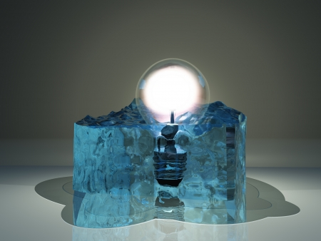 Light bulb frozen in ice Stock Photo - 17183370