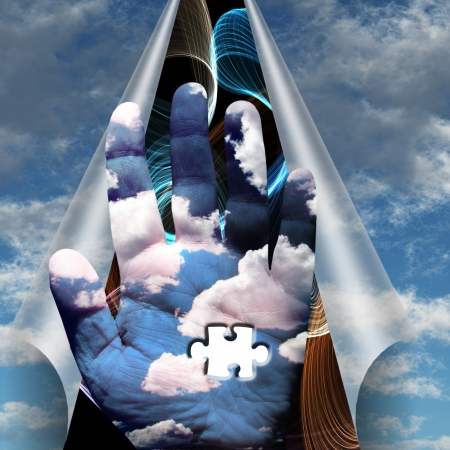 unanswered: Cloud hand revealed under sky a puzzle Stock Photo