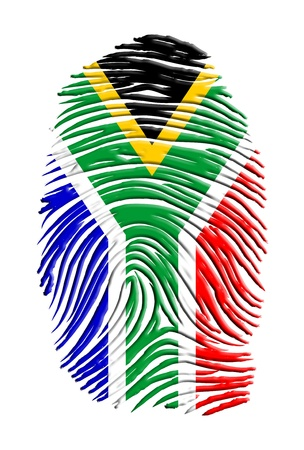 south african: South african flag fingerprint