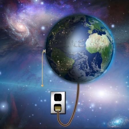 Erde mit Tag und Nacht mit Zugschalter Standard-Bild - 17312966