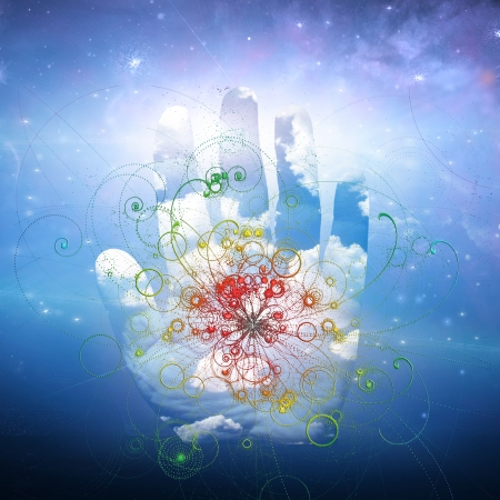 atomic energy: Open hand and particle design Stock Photo