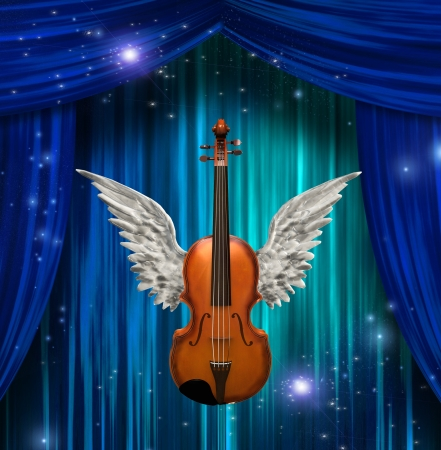 Violin with wings  Stock Photo
