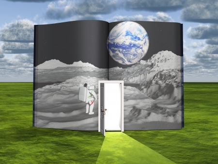 literature: Book with science fiction scene and open doorway of light Stock Photo