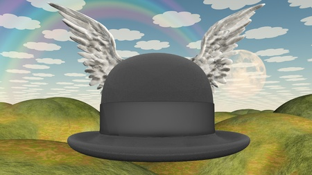 english countryside: Winged Hat in surreal landscape