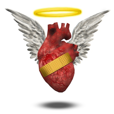 mended: Wounded good heart Stock Photo