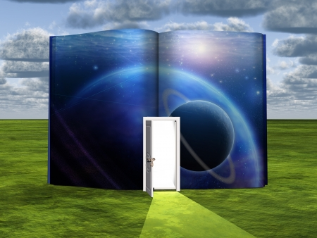 fi: Book with science fiction scene and open doorway of light Stock Photo