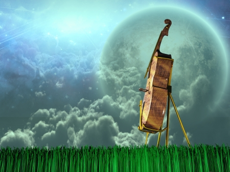 Cello in dream like landscape