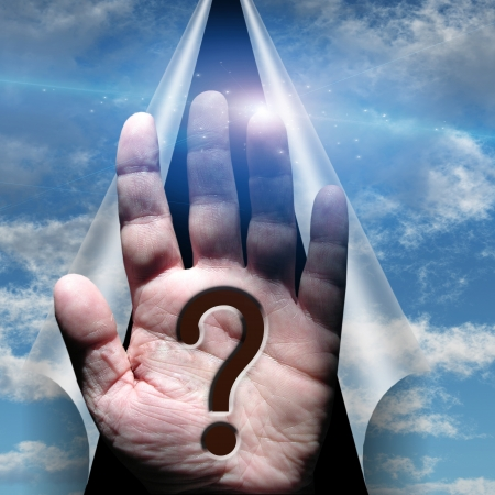 Question mark palm hand Stock Photo - 17492146