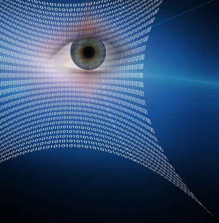 identity protection: Eye and web composed of binary code Stock Photo