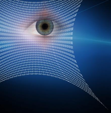 Eye and web composed of binary code Stockfoto