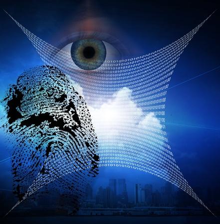 composite image: Binary web and fingerprint with human eye