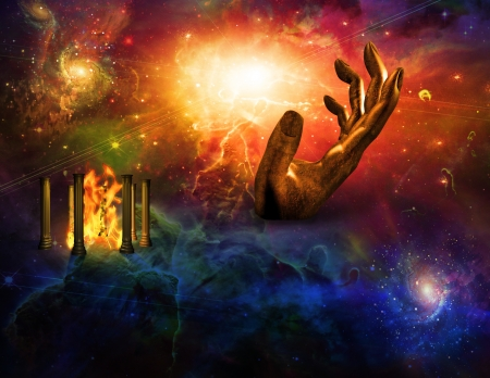 fantasy fiction: Hand and space with fire temple Stock Photo