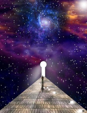 star path: MAN ON JOURNEY Stock Photo