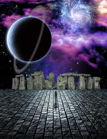 hombre prehistorico: Stone estructura en la ciencia ficción escena ike