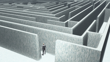 confused: Man and maze