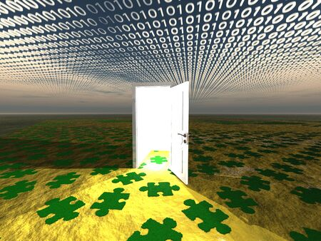 Doorway in landscape with binary streaming and puzzle pattern on ground photo