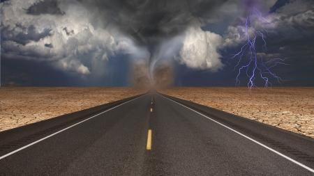 desert storm: Tornado funnel in desert road landscape