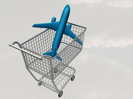 Aircraft in shopping trolly photo