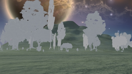 Paper trees in sci fi landscape Stock Photo - 17908155