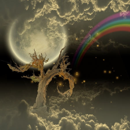 the color of silence: Tree moon stars and rainbow Stock Photo