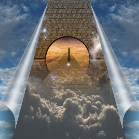 pilgrim journey: Sky splits open showing man on spiritual journey Stock Photo
