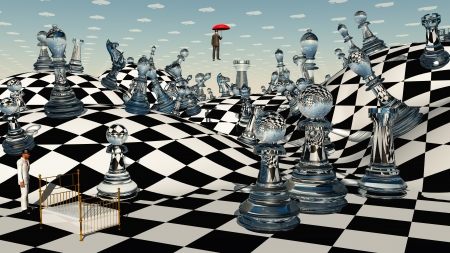 3d weird: Fantasy Chess Stock Photo