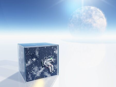 Astronaut and space captured in clear box in surreal scene photo