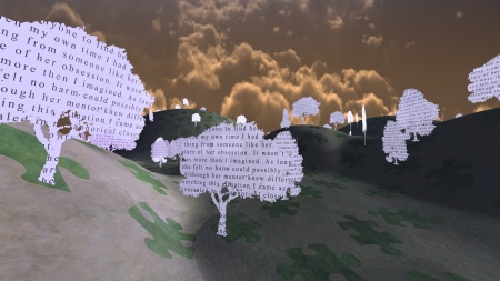Paper trees with text in mystical landscape from My own writings Stock Photo - 18378577