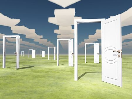 new opportunity: Many open doors with directional arrow clouds Stock Photo
