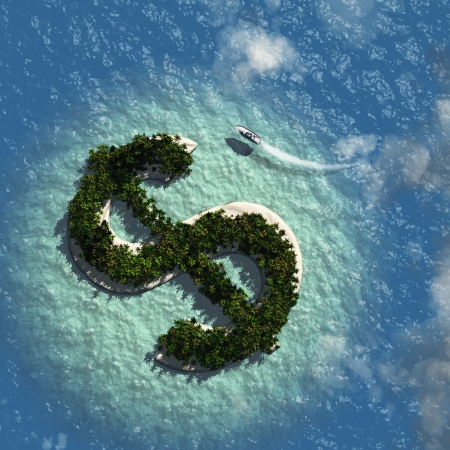 symbol tourism: Dollar Sign Island Stock Photo