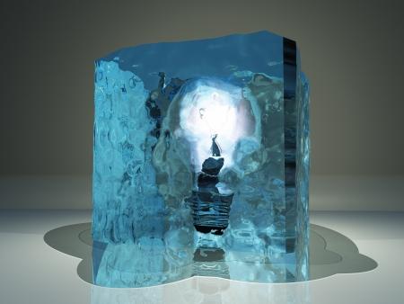 Light bulb frozen in ice