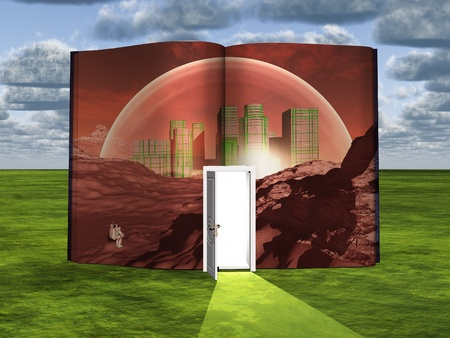 Book with science fiction scene and open doorway of light photo