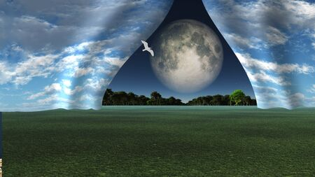 revealed: Sky pulled apart like curtain to reveal other landscape with giant full moon