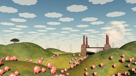 Pigs move like lemmings toward factory Stock Photo