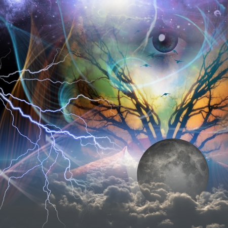 spiritual light: Hands show revealtion of power beneath Stock Photo