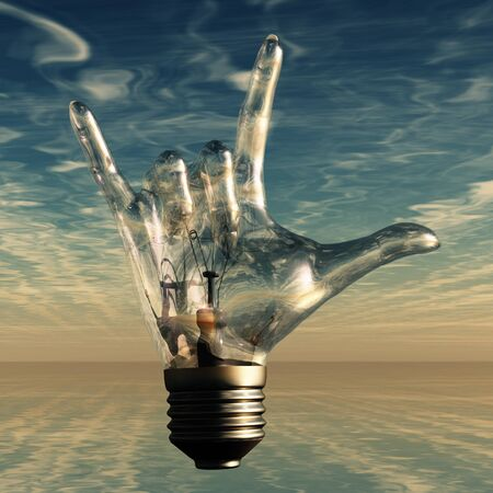 Rock n roll horns gesture lightbulb photo