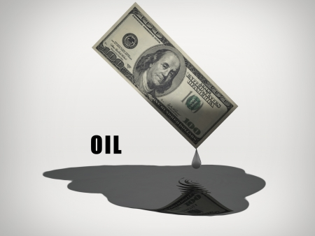 out of gas: Oil drips from US 100 Dollar Bill Stock Photo
