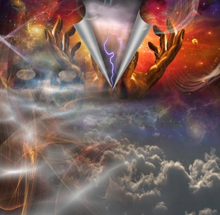 alabando a dios: Manos mostrar revealtion de poder bajo