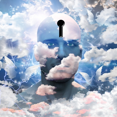 free thought: Man with clouds paint and keyhole in head