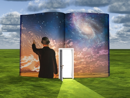 daydream: Book with science fiction scene and open doorway of light Stock Photo