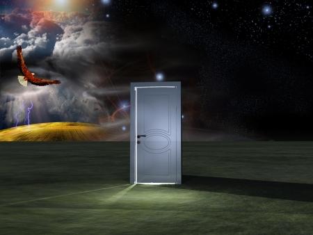 Doorway before cosmic sky photo