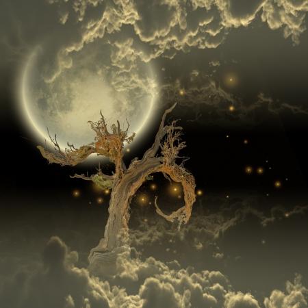 木の満月と星 写真素材