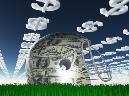 us dollar bill: US Currency Helmet on Grass with Dollar Symbol Clouds Stock Photo