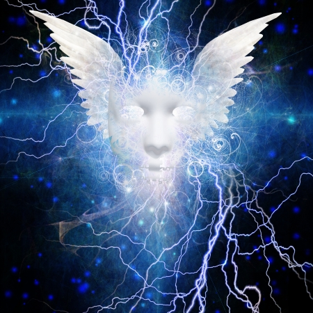 psychic: Face with wings Design Stock Photo