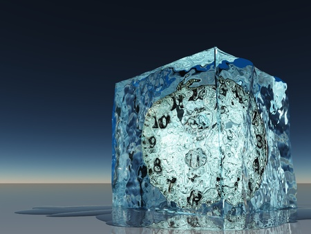 within: Clock frozen within ice