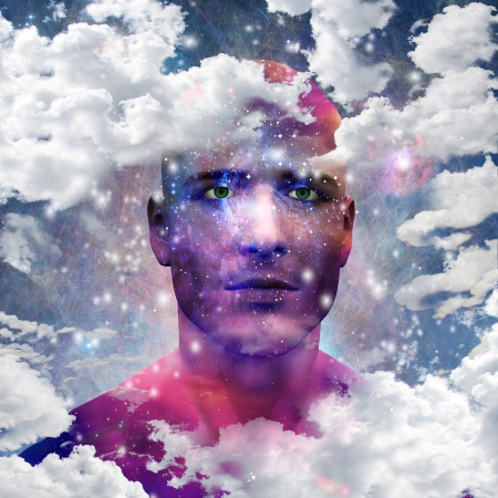 Mans head with stars and clouds photo