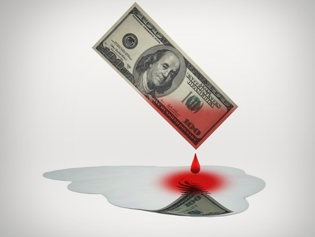 Blood money drips into puddle of fresh water